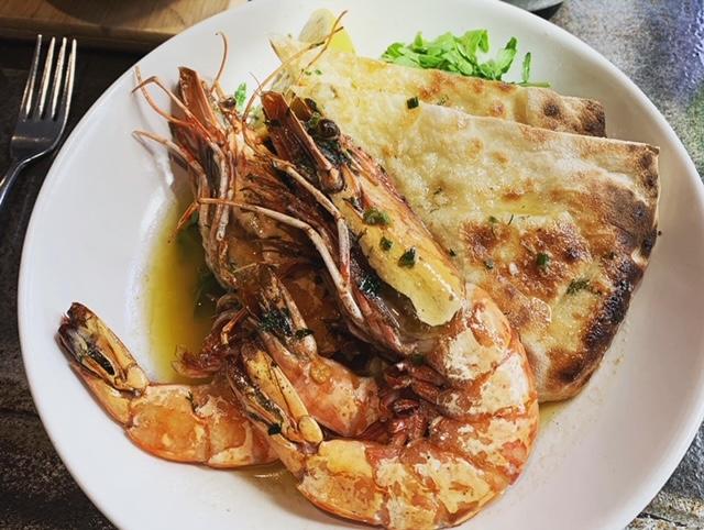 Jumbo king prawns with garlic focaccia