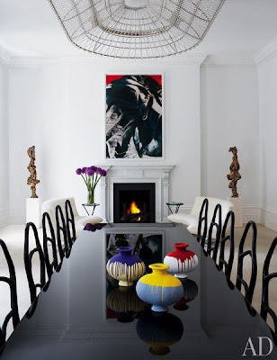 francis sultana design in london dining room with black table and chairs