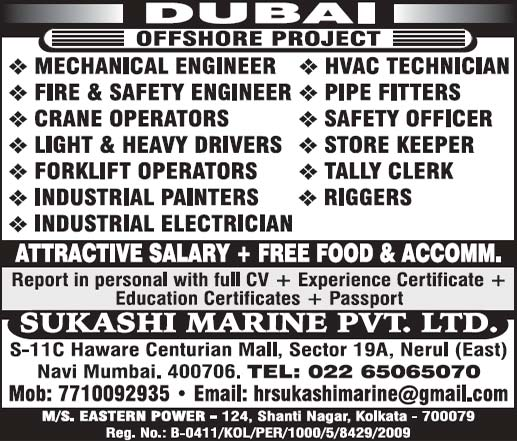 Dubai Offshore Jobs | Sukashi Marine PVT LTD Assignment Abroad Times