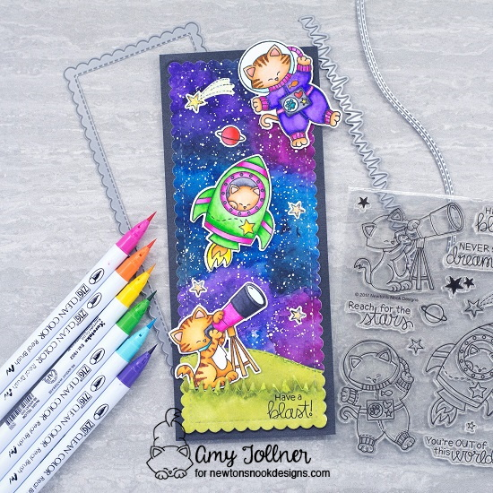 Have a blast by Amy features Cosmic Newton, Slimline Frames & Portholes, and Land Borders by Newton's Nook Designs; #newtonsnook, #inkypaws, #cardmaking, #watercolorcards, #catcards