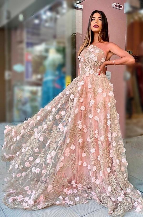 vestido de festa longo rose de um ombro só com bordado floral 3D
