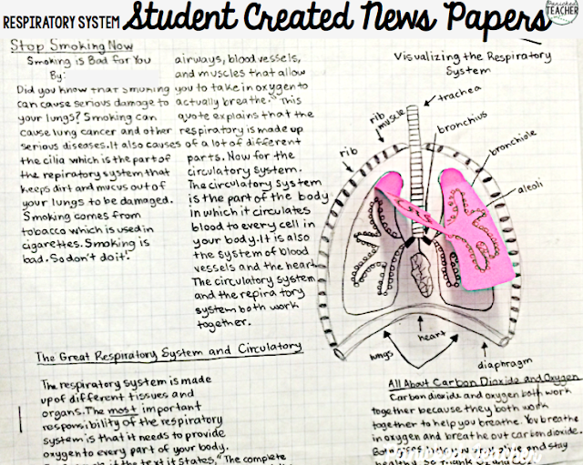 Students researched the RESPIRATORY SYSTEM and then wrote NEWSPAPER articles and drew a diagram all in ONE! DOK 3/4 activity!