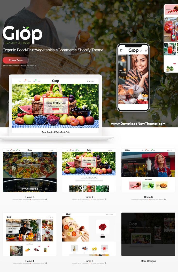 Organic Food Fruit Vegetables eCommerce Shopify Theme