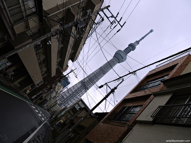 Calles de Sumida City con el Tokyo Skytree