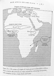 Page 387. Figure 19.3. The areas of origin of crops grown traditionally in Africa (that is, before the arrival of crops carried by colonizing Europeans), with examples of two crops from each area.