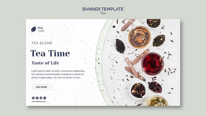 Horizontal Banner Template Tea Time