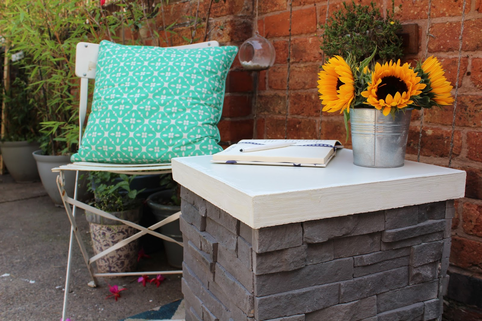 DIY Feature Tiled Table with Concrete Top