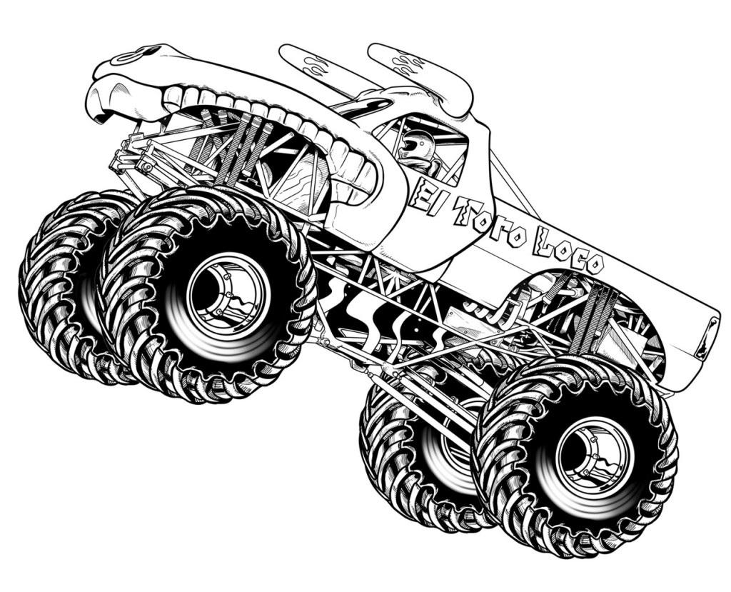 gambar mewarnai monster truck