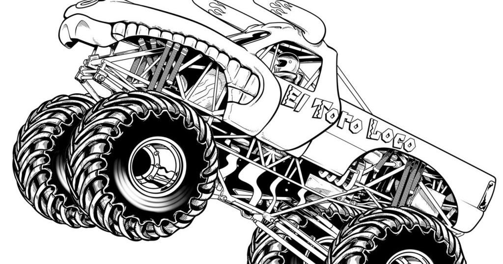 Gambar Mewarnai Monster Truck Untuk Anak Paud Dan Tk