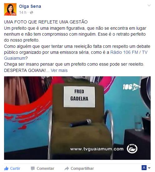 Vereadora Olga Sena critica ausencia do prefeito em entrevista na TVGuaiamum/106,3FM