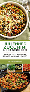 Julienned Zucchini Mock Spaghetti with Quick Sausage, Tomato, and Basil Sauce found on KalynsKitchen.com