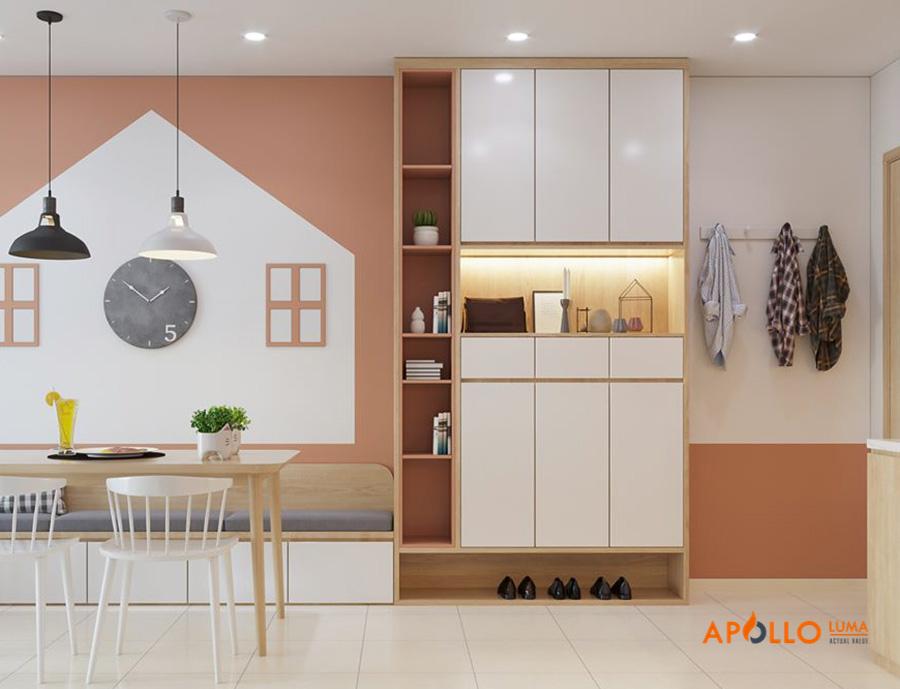 Thiết kế tủ giầy kịch trần mẫu 2: phong cách hiện đại tông màu sáng