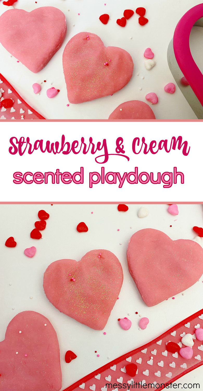 Strawberry and cream scented playdough recipe. This strawberry playdough makes a popular and easy valentines playdough.