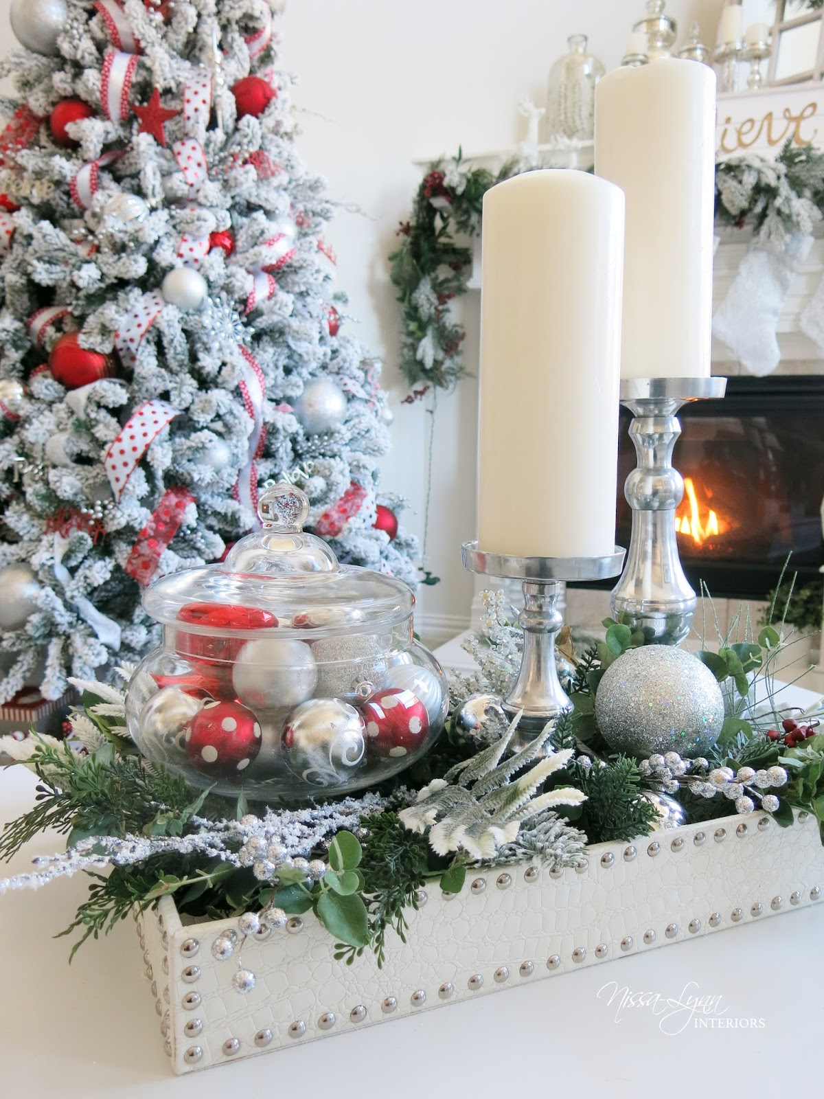 Nissa Lynn Interiors  My Winter White Living Rooom Garland and Wreath
