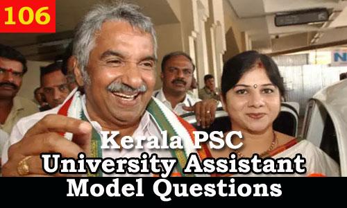 Kerala PSC Model Questions for University Assistant Exam - 106