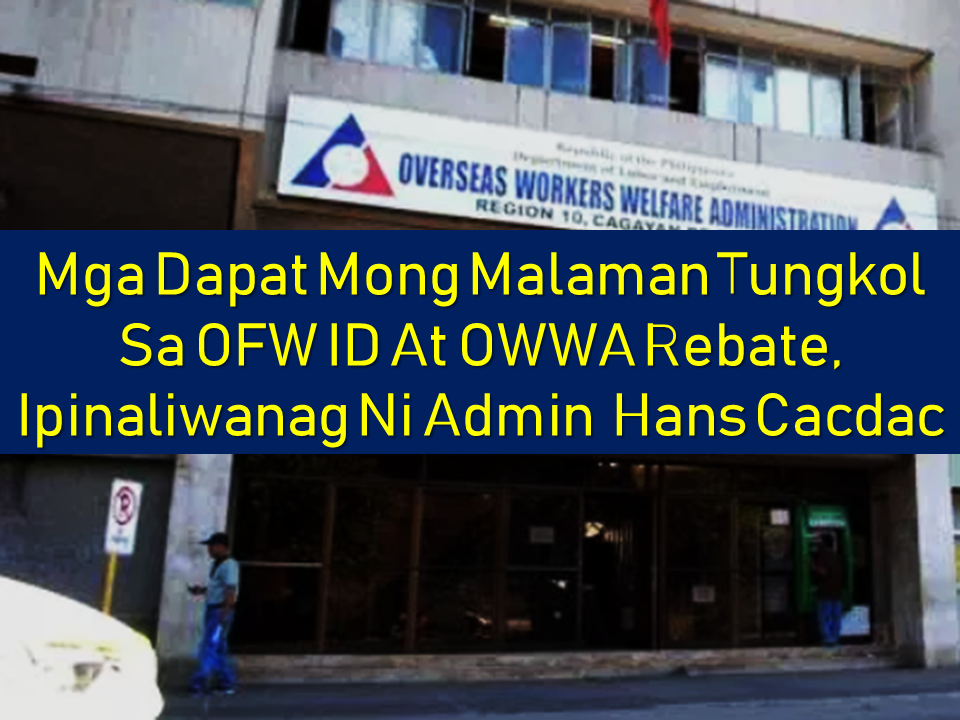 "OFW ID CARD ( i-DOLE)    OWWA Administrator  Hans Leo Cacdac explains about the i-DOLE ID recently approved by President Rodrigo Duterte for OFWs.  The i-DOLE, OFW Identification Card serves as the ""virtual"" one-stop-shop. The concept of having an electronic platform that can be used for processing OFW documents, requirements, contributions, etc in different DOLE agencies such as OWWA, POEA, TESDA, and the PRC. The platform includes a mobile app and a website where the OFWs can go.  For example, transactions with OWWA like updating OWWA membership, applying for OWWA programs like scholarships,  training, livelihood, the benefit for disability or death can be done electronically without the hassle of being caught in the traffic on the way to OWWA offices. The most important thing is that the i-DOLE serves as the central storage of information for each OFWs. With just one swipe of the i-DOLE card, all the records of the OFW can be accessed.  The mobile app launching is underway and can be expected to start anytime soon.  Admin Hans Cacdac clarified that the i-DOLE card can be availed by OFWs absolutely free of charge.      Watch OWWA Admin Hans Leo Cacdac as he answers the questions about the new i-DOLE OFW card in an interview by CNN Philippines with Ruth Cabal.       Meanwhile, Admin Cacdac explained that the rebate system program must be subjected first to an ""actuarial study"" before they can begin its full implementation.  In the new charter of OWWA passed on 2016 (R.A. No. 108010, one of the provisions under Chapter 19, Section 54 is that OWWA should issue a rebate for members that never availed any OWWA benefits for 10 years and above as well as their family members.  After the actuarial study has been done, the OWWA will release a list of qualified OFWs for the rebate.  According to Admin Cacdac, his office will advise the OFWs as soon as the rebate program is ready for them to avail.        READ MORE: It's More Deadly In The Philippines? Tourism Ad In New York, Vandalized    Earn While Helping Your Friends Get Their Loan      List of Philippine Embassies And Consulates Around The World    Deployment Ban In Kuwait To Be Lifted Only If OFWs Are 100% Protected —Cayetano    Why OFWs From Kuwait Afraid Of Coming Home?   How to Avail Auto, Salary And Home Loan From Union Bank"