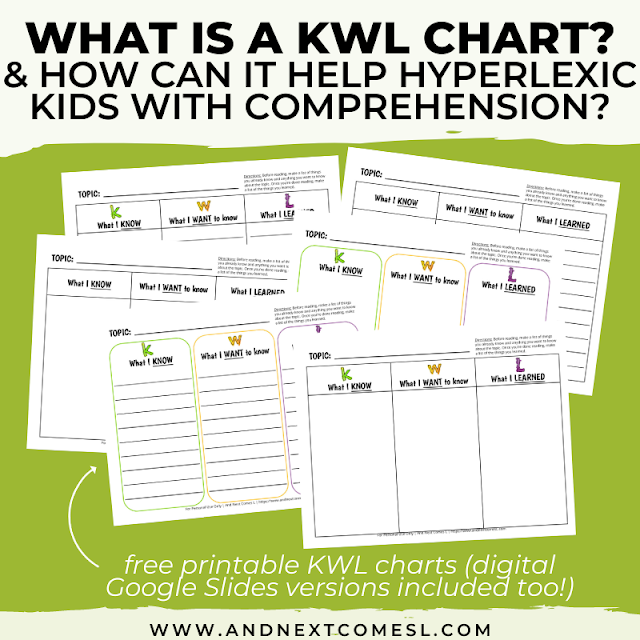 Free KWL charts & how they can help hyperlexic kids with their comprehension