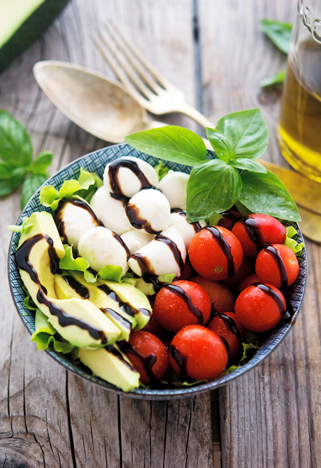 Avocado Caprese Salad with Balsamic Reduction