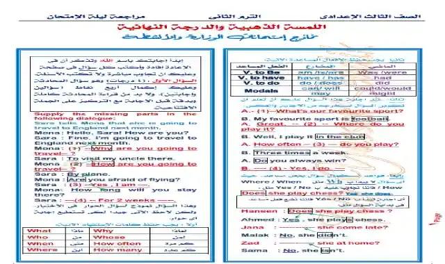 نماذج امتحانات الوزارة بالاجابات فى اللغة الانجليزية للصف الثالث الاعدادى الترم الثانى 2021 اعداد مستر ياسر صديق