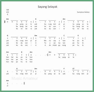 not angka lagu sayang selayak lagu daerah sumatera selatan