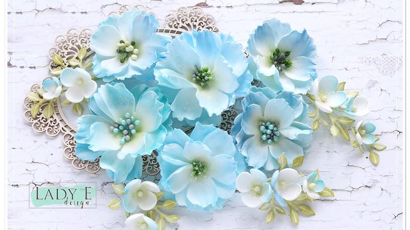 Blue Foamiran Flowers & Flower Sprays
