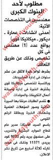 اعلان وظائف احد البنوك الكبري للمؤهلات العليا منشور بجريدة الاهرام 27-05-2016