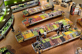 Overhead view of supermarket fruit area