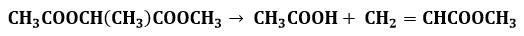Reacción de la pirólisis de acetoxipropionato de metilo