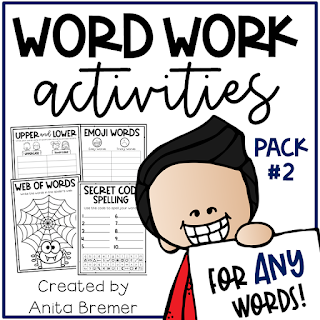 Word work spelling activities for ANY words! Word work is an essential part of language learning in the primary grades. Make word work FUN while LEARNING takes place! There are seventeen different word work activities included in this pack. They can be used for absolutely ANY word learning! Perfect for literacy centers or sub plans. A must have for Kindergarten- Third Grade! #wordwork #wordworkactivities #spelling #1stgrade #2ndgrade #kindergarten