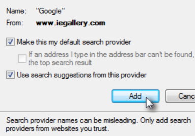 How to set Google as default search in IE9