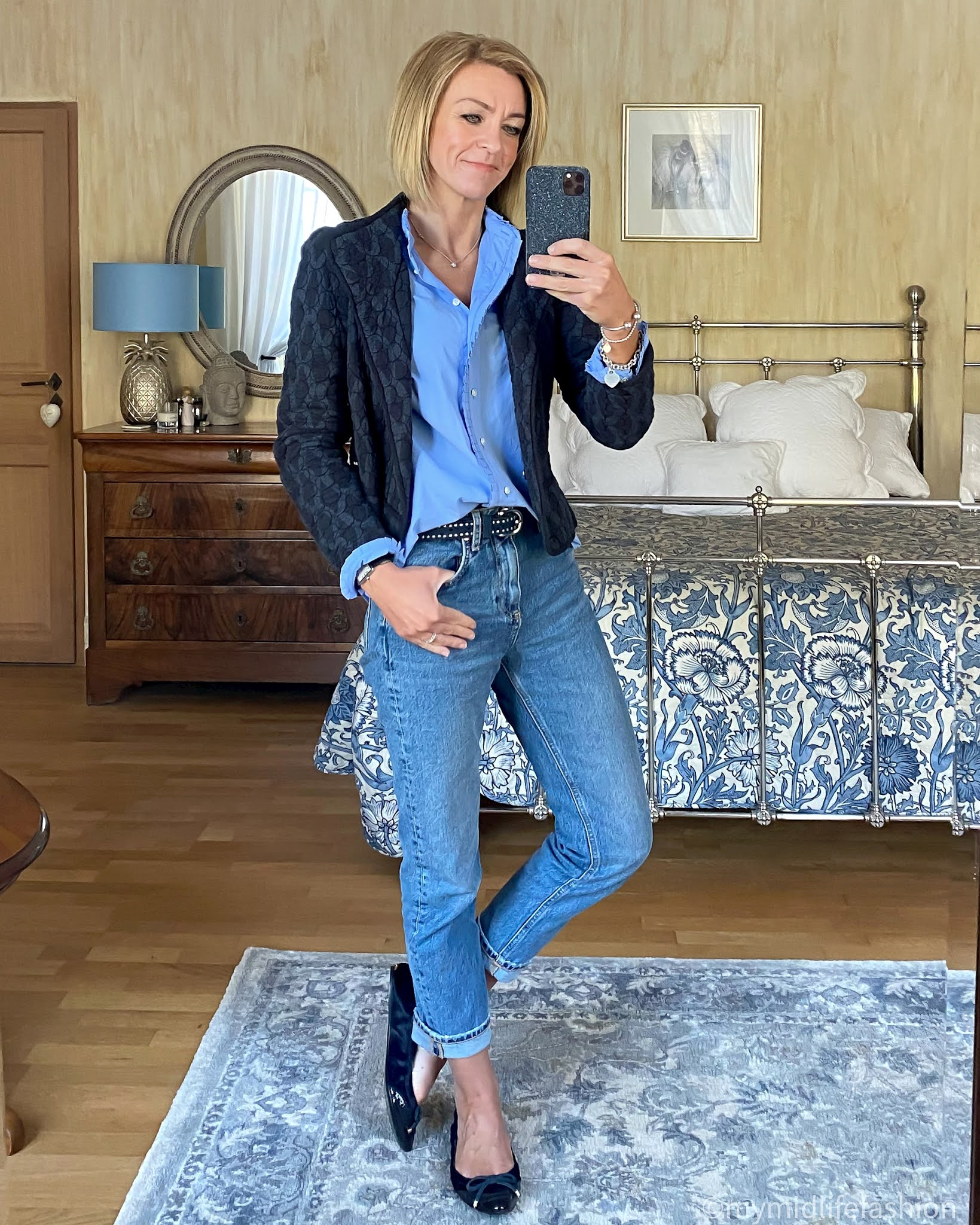 my midlife fashion, Isabel Marant Etoile quilted jacket, j crew frill blouse, the white company studded belt, zara straight leg jeans, Burberry ballet flats