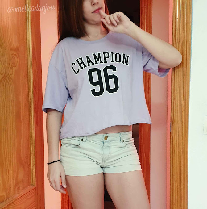 Lilac 'Champion 96' Slogan Print Short Sleeve T-Shirt