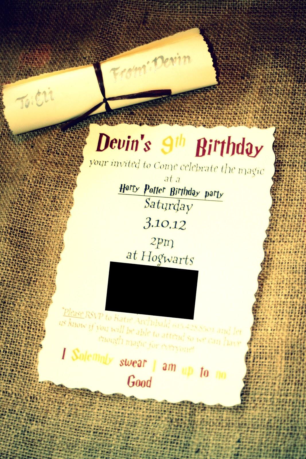 A Boy Named Parker Harry Potter Birthday