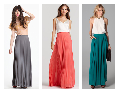 f5d315bd2f I think I may need to get an accordion pleated skirt to dress up for night  and a billowy maxi skirt for weekend flea market hunting.