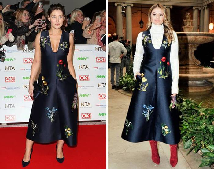 "A spectacular dark blue dress with an unobtrusive floral pattern from Stella Mccartney attracted two celebrities at once. Bruce Willis's wife Emma complemented him with classic boats and a dark clutch , and Tassia Naves decided to "" complicate"" the image by putting on a turtleneck and red suede ankle boots under her dress."