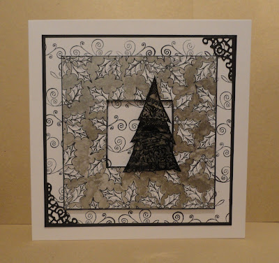Black, white and silver Christmas card, with silver mica holly frame and acetate collage Christmas tree