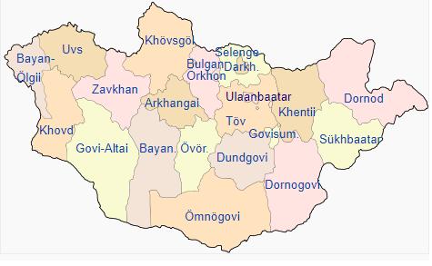 Peta pembagian wilayah administratif Mongolia