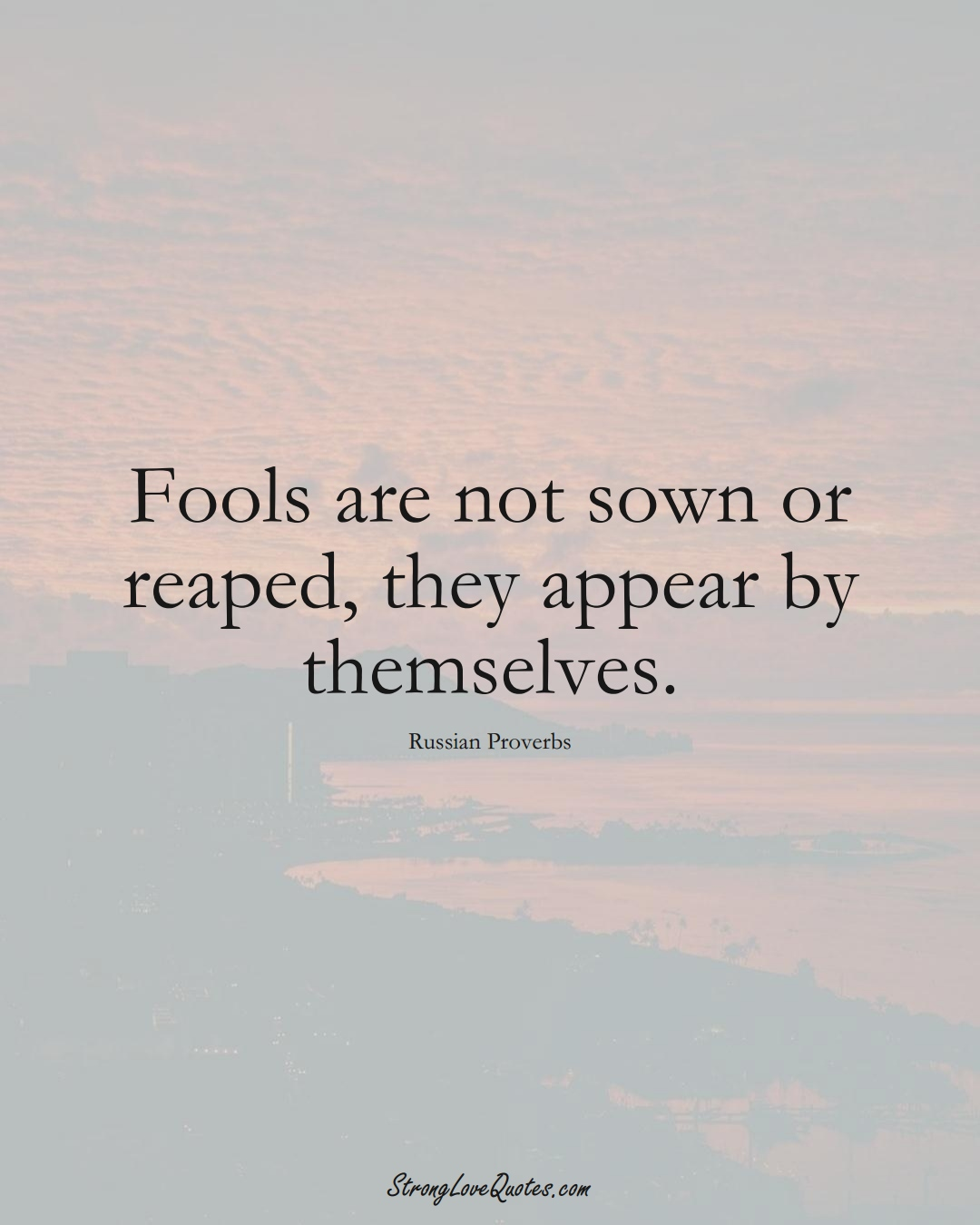 Fools are not sown or reaped, they appear by themselves. (Russian Sayings);  #AsianSayings