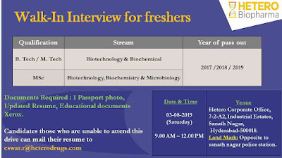 Hetero Biopharma - Walk-in interview for Freshers & Experienced candidates on 3rd August, 2019