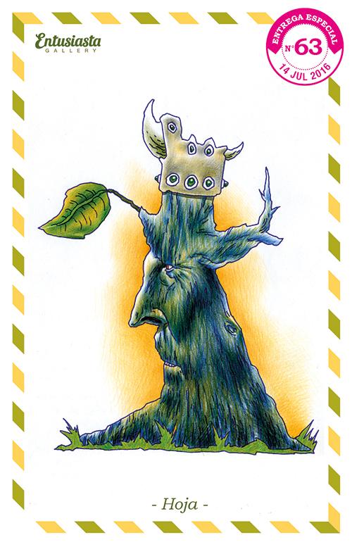 Un rey árbol azul, con un tocado de cuero con cuernos y gemas, contemplando su preciada hoja.