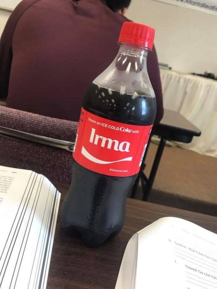 20 Funny Pictures About Hurricane Irma That Prove Floridians Haven't Lost Their Sense Of Humor - My Coke Bottle That I Got Out Of The Vending Machine Had The Name 'Irma' On It Today