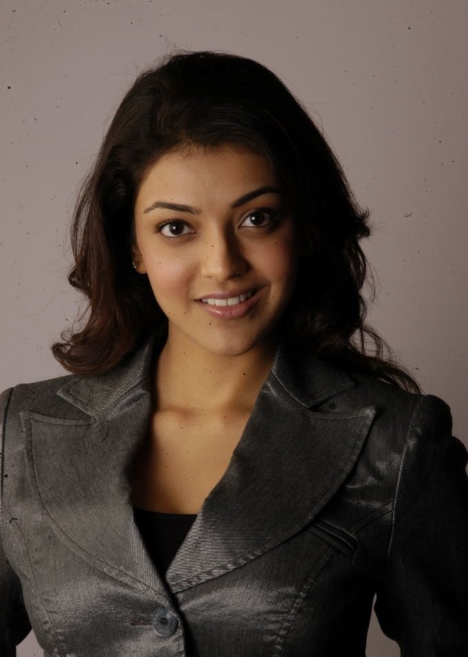 Tollywood Actress Kajal Agarwal Chubby Cheks Face Closeup In Black Dress