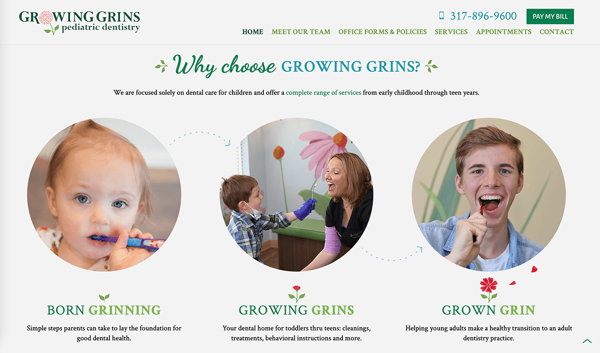 Screengrab of Growing Grins Pediatric Dentristry's homepage with a candid photo of the practice's primary provider