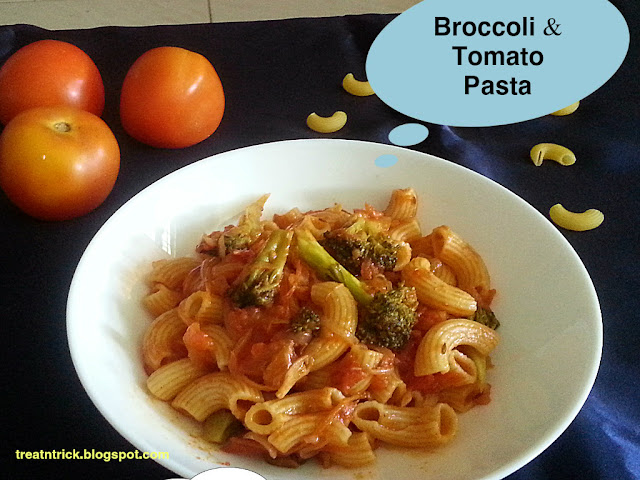 Broccoli & Tomato Pasta Recipe @ treatntrick.blogspot.com