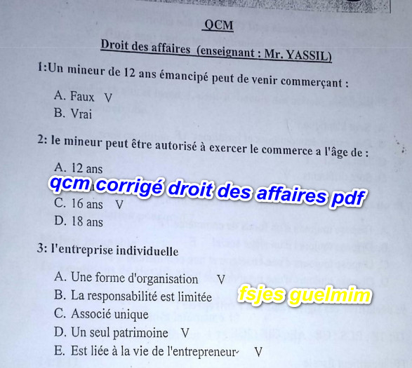 Qcm Corrige Droit Des Affaires Pdf Fsjes Ofppt Cours