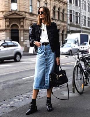 Como usar saia jeans no inverno