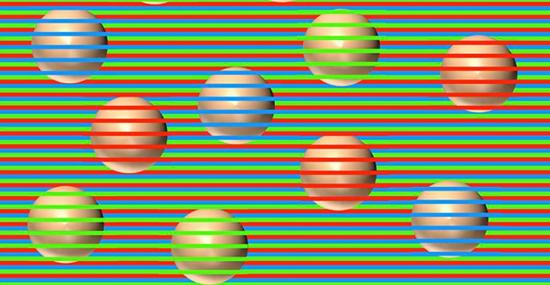 Ilusão de ótica esferas listras coloridas - Capa