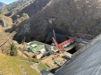 工事中の下流側