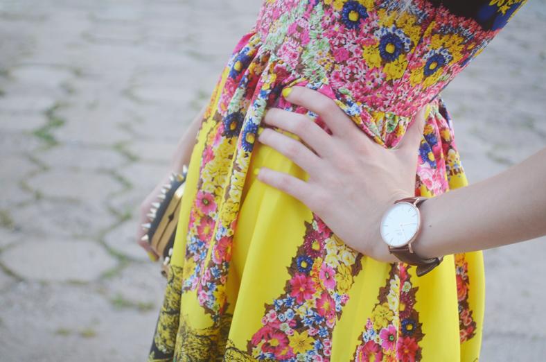 BAROQUE & FLORAL PRINTED DRESS