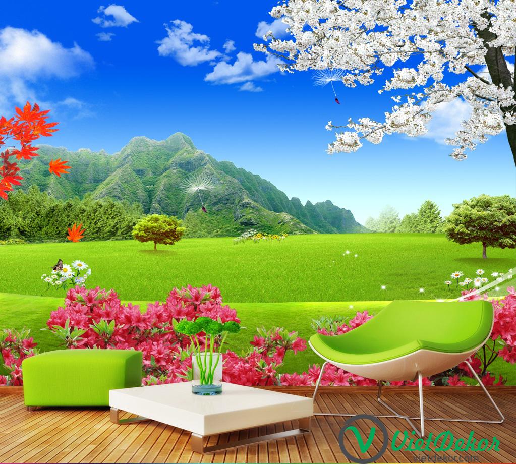 Tranh dán tường 3d phong cảnh thiên nhiên hoa cỏ đồi núi